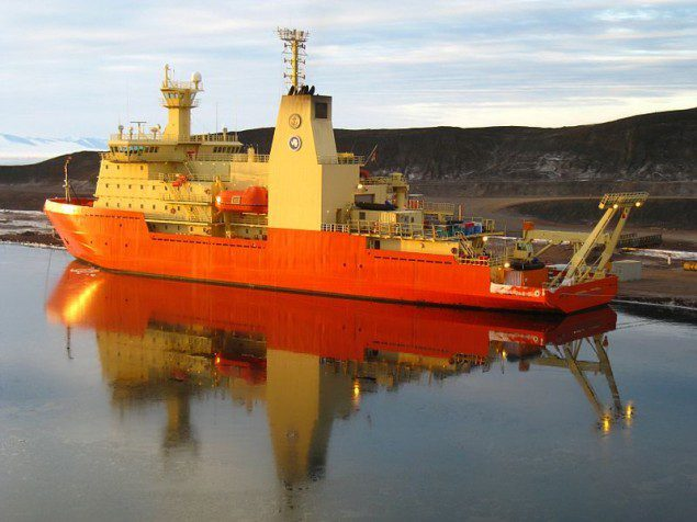 The R/V Nathaniel B. Palmer in Antarctica in 2011.