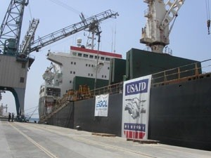 A USAID food assistance ship docks in Iraq in this file photo.