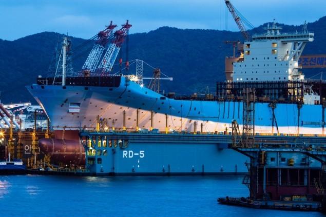 Maersk Triple-E Ship at night