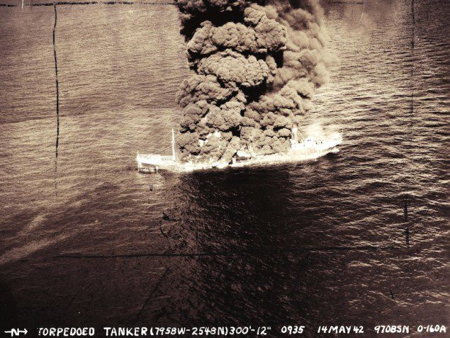 14 May, 1942, U. S. Army Air Corps photographs of the burning tanker Potrero del Llano location. Photo Credit: Images courtesy of National Archives, College Park, MD