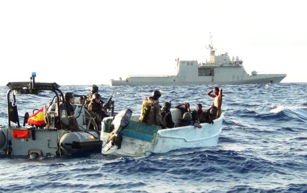 EUNAVFOR team investigates a group of suspected pirates,