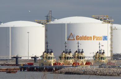 The existing Golden Pass facility, located on the Sabine-Neches Waterway, includes five LNG storage tanks, two berths and a 69-mile pipeline system with nine interconnects to intrastate and interstate pipelines. Photo: Golden Pass