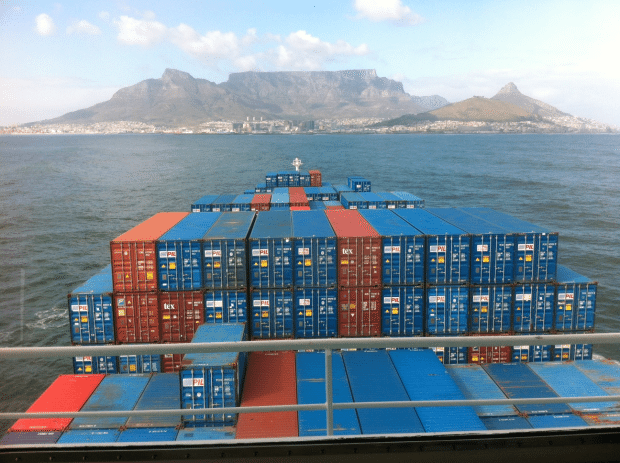 This picture, released by NSRI, was taken from the bridge of the CMA CGM Lilac which caught fire over the weekend near Cape Town. Image credit: Gavin Kode