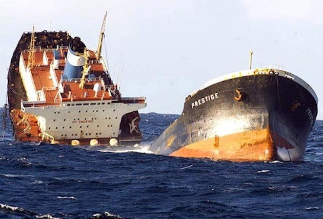 The Prestige tanker nearly broken in two off the coast of Spain in November 2002.