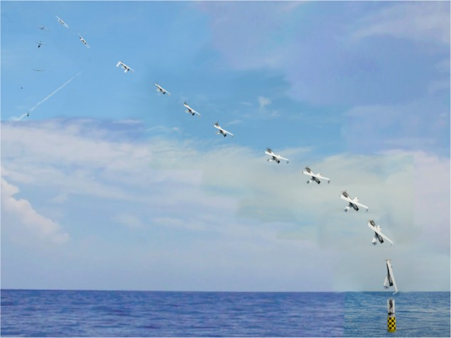 Deployed from the submerged submarine USS Providence, the NRL developed XFC unmanned aircraft is vertically launched from a 'Sea Robin' launch vehicle (bottom right). The folding wing UAS autonomously deploys its X-wing airfoil and after achieving a marginal altitude, assumes horizontal flight configuration. (Photo: NAVSEA-AUTEC)