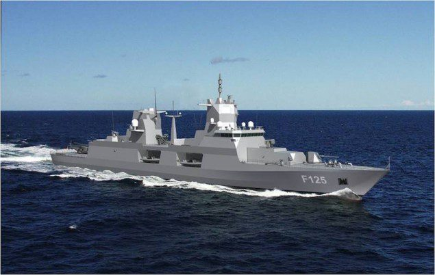An illustration of the the Blohm+Voss Class 125 frigate.